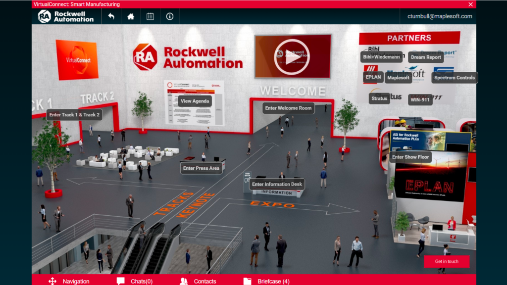This area of the virtual conference served as a lobby for access to presentation sessions, the show floor and other information.